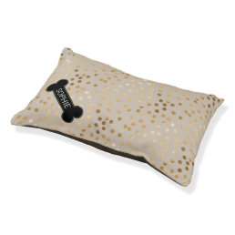 Soft Tan Gold Faux Glitter Dots with Custom Name Pet Bed