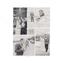 Soft Tan Gray Monogram 4 Photo Collage Wedding Fleece Blanket
