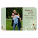 Soft teal + cream floral save the date photo flexible magnets