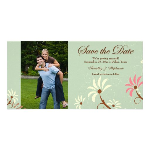 Soft teal + cream floral wedding save the date photo card template
