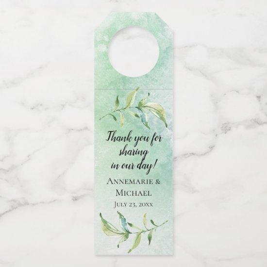 Soft Teal Green Watercolor Wash and Leaf Stem Bottle Hanger Tag