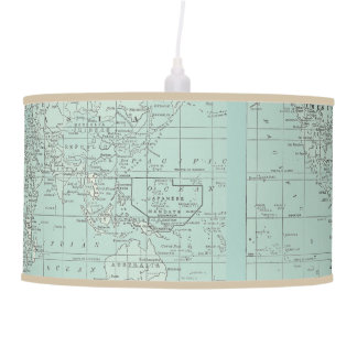 Soft Teal World Map Pendant Lamps