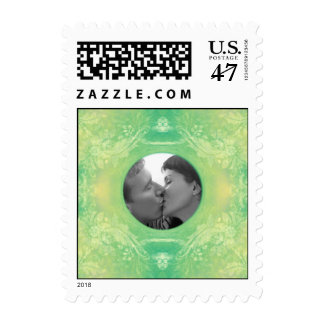 Soft Teal & Yellow Photo Frame Scrapbook Style Postage