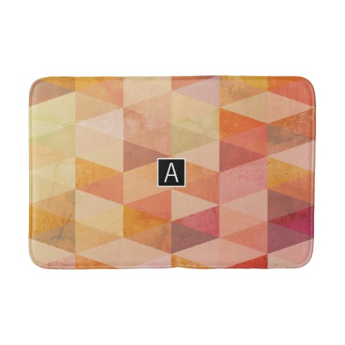 Soft Triangle Geometric Pattern | Monogrammed Bathroom Mat