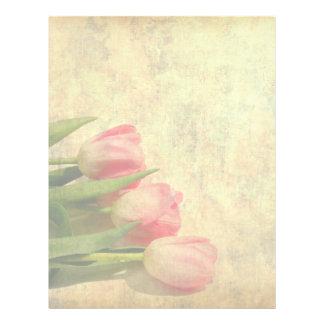 Soft Tulips On Vintage Paper Flyer