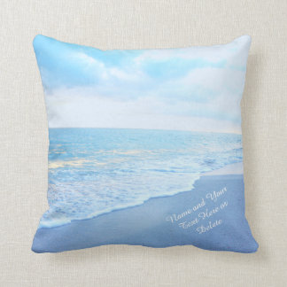 Soft Turquoise and Blue Beach Pillows YOUR TEXT
