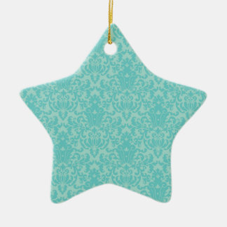 Soft Turquoise Damask Pattern Ceramic Ornament