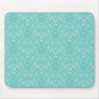 Soft Turquoise Damask Pattern Mouse Pad