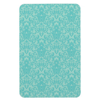 Soft Turquoise Damask Pattern Rectangle Magnets