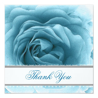 SOFT TURQUOISE Rose Lace Ribbon Wedding Thank You Card