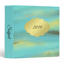 Soft Turquoise with Brush Strokes of Gold 3 Ring Binder
