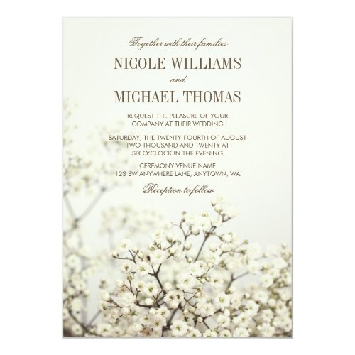 Soft Vintage Baby's Breath Wedding Invitations