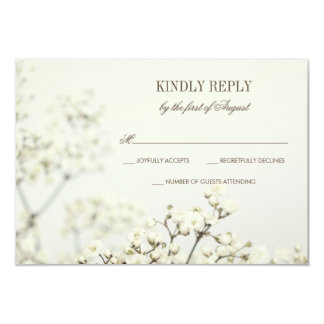Soft Vintage Baby's Breath Wedding RSVP Card