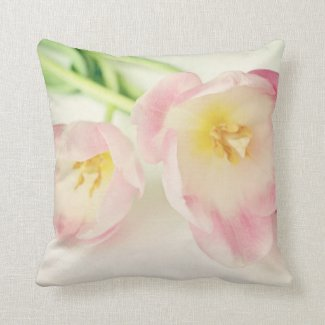 Soft Vintage Pink Tulips Throw Pillow