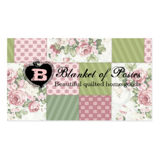 soft vintage roses patchwork quilt quilting card business card templates