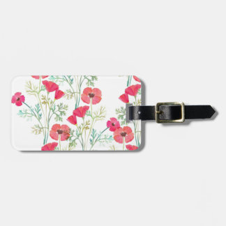 Soft Vintage Watercolor Poppies Luggage Tag