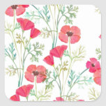 Soft Vintage Watercolor Poppies Stickers