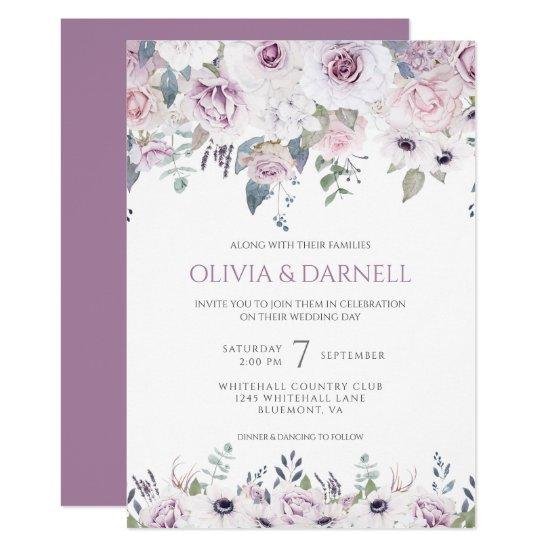 Soft Violet Pink Lavender White Floral Wedding I Invitation