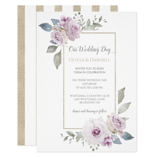 Soft Violet Purple Lavender Gold Floral Wedding Invitation
