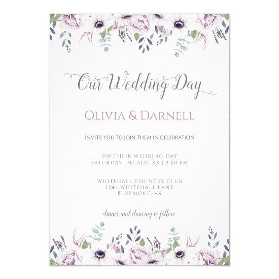 Soft Violet Purple Lavender White Floral Wedding Invitation