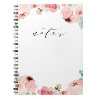 Soft Watercolor Flower Blogger Notebook