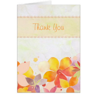 Soft Watercolor Flowers Wedding Thank You Cards