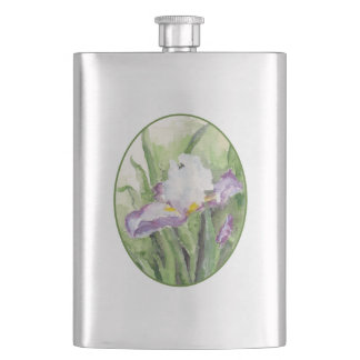 Soft Watercolor Iris Hip Flask