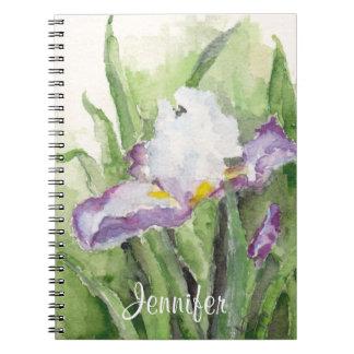 Soft Watercolor Iris Notebook
