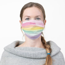 Soft Watercolor Rainbow Stripe with Your Name Adult Cloth Face Mask