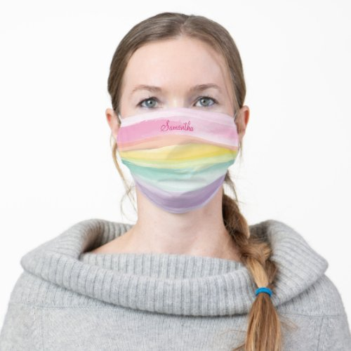 Soft Watercolor Rainbow Stripe with Your Name Cloth Face Mask