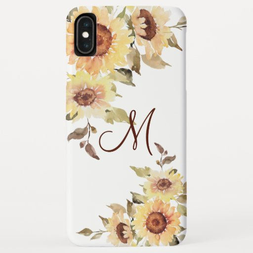Soft Watercolor Sunflowers and Greenery iPhone XS Max Case