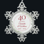 """Soft Watercolour Greenery 40th Anniversary Snowflake Pewter Christmas Ornament<br><div class=""""desc"""">Featuring delicate soft watercolour leaves,  this chic botanical 40th wedding anniversary design can be personalised with your special forty-anniversary information in elegant ruby text. Designed by Thisisnotme©</div>"""