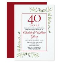 Soft Watercolour Leaves 40th Anniversary Invitation