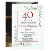 Soft Watercolour Leaves 40th Anniversary Photo Invitation