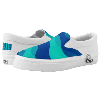 Soft Waves gradients blue cyan + your ideas Slip-On Sneakers