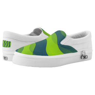 Soft Waves gradients green blue + your ideas Slip-On Sneakers