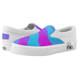 Soft Waves gradients pink cyan + your ideas Slip-On Sneakers