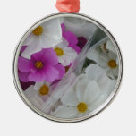 Soft White and Purple Flower Design Christmas Tree Ornaments