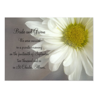 "Soft White Daisy Marriage / Elopement Announcement 5"" X 7"" Invitation Card"