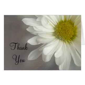 Soft White Daisy on Gray Thank You Note Card