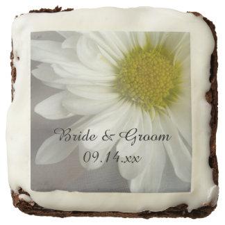 Soft White Daisy on Gray Wedding Chocolate Brownie