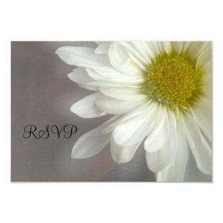 Soft White Daisy on Gray Wedding RSVP 3.5x5 Paper Invitation Card