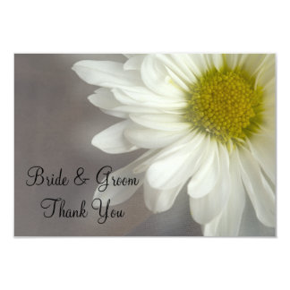 Soft White Daisy on Gray Wedding Thank You Notes Card