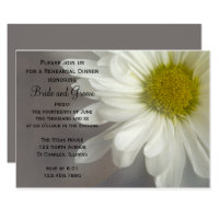 Soft White Daisy Wedding Rehearsal Dinner Invite