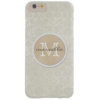 Soft White Damasks Pattern Monogram Barely There iPhone 6 Plus Case