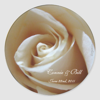 Soft White Rose Custom Wedding Envelope Seals Classic Round Sticker