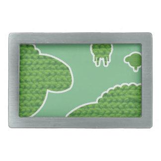 Soft wooly sheep green rectangular belt buckle
