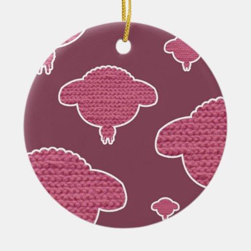 Soft wooly sheep pink kerst ornamenten
