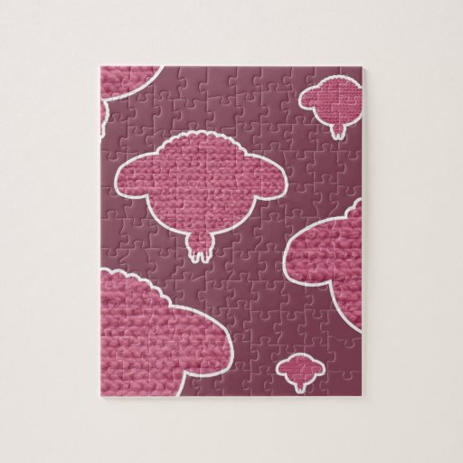 Soft wooly sheep pink stukjes puzzel