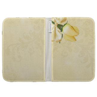 Soft Yello Rose on antique cream paper Kindle Case